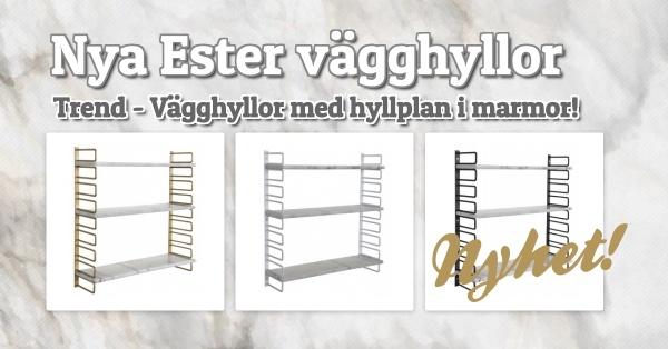 Nya Ester vägghyllor med hyllplan i marmor!