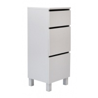 Box byrå hög / smal / 3 lådor - vit