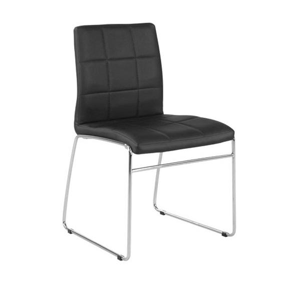 Cube stol - svart PU/ krom