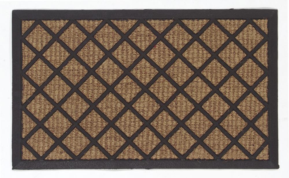 Dörrmatta Ruter - Natur och gummi - 45x75 cm
