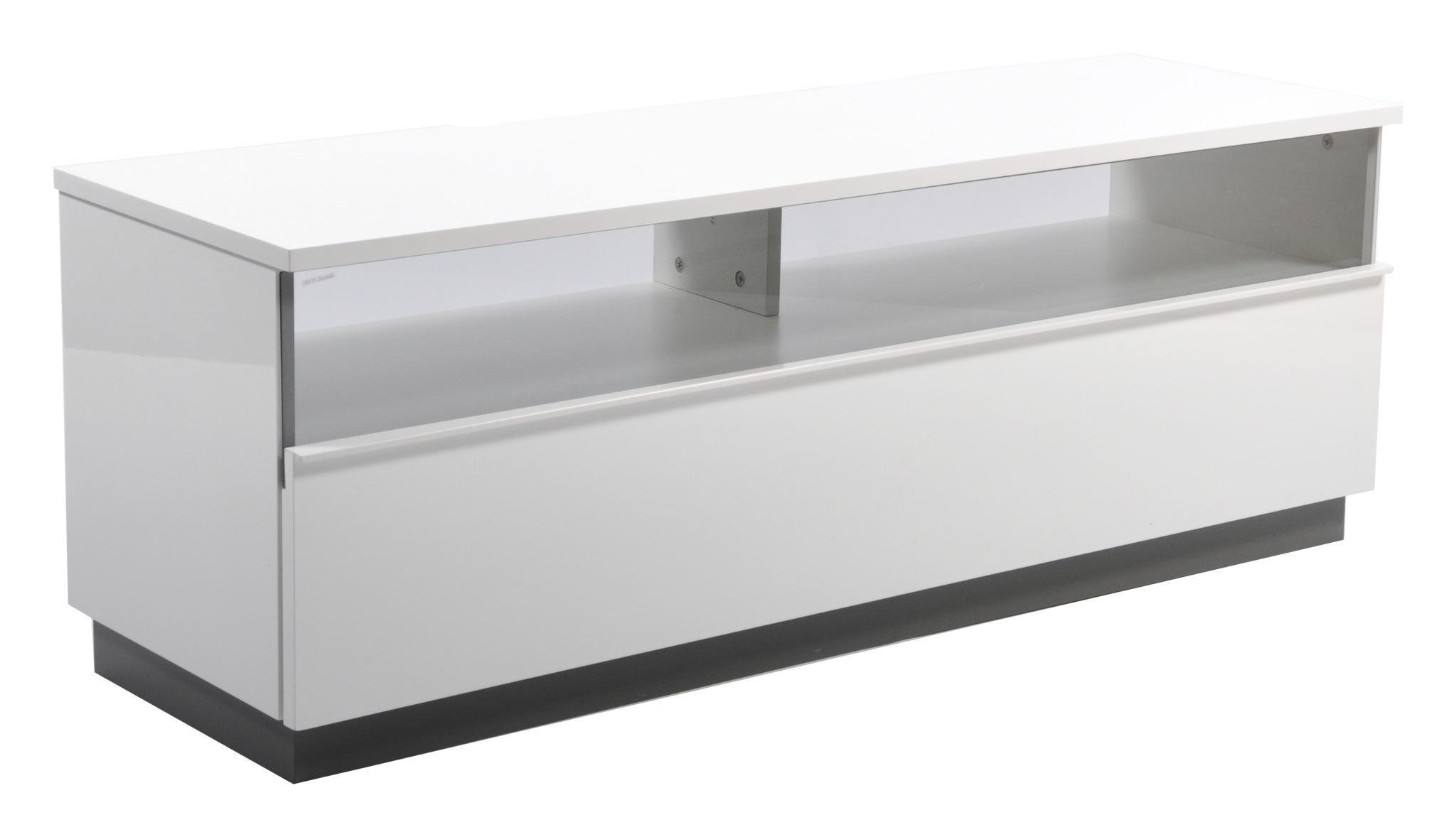 Decibel TV-bänk 125 med sockel - Vit Melamin