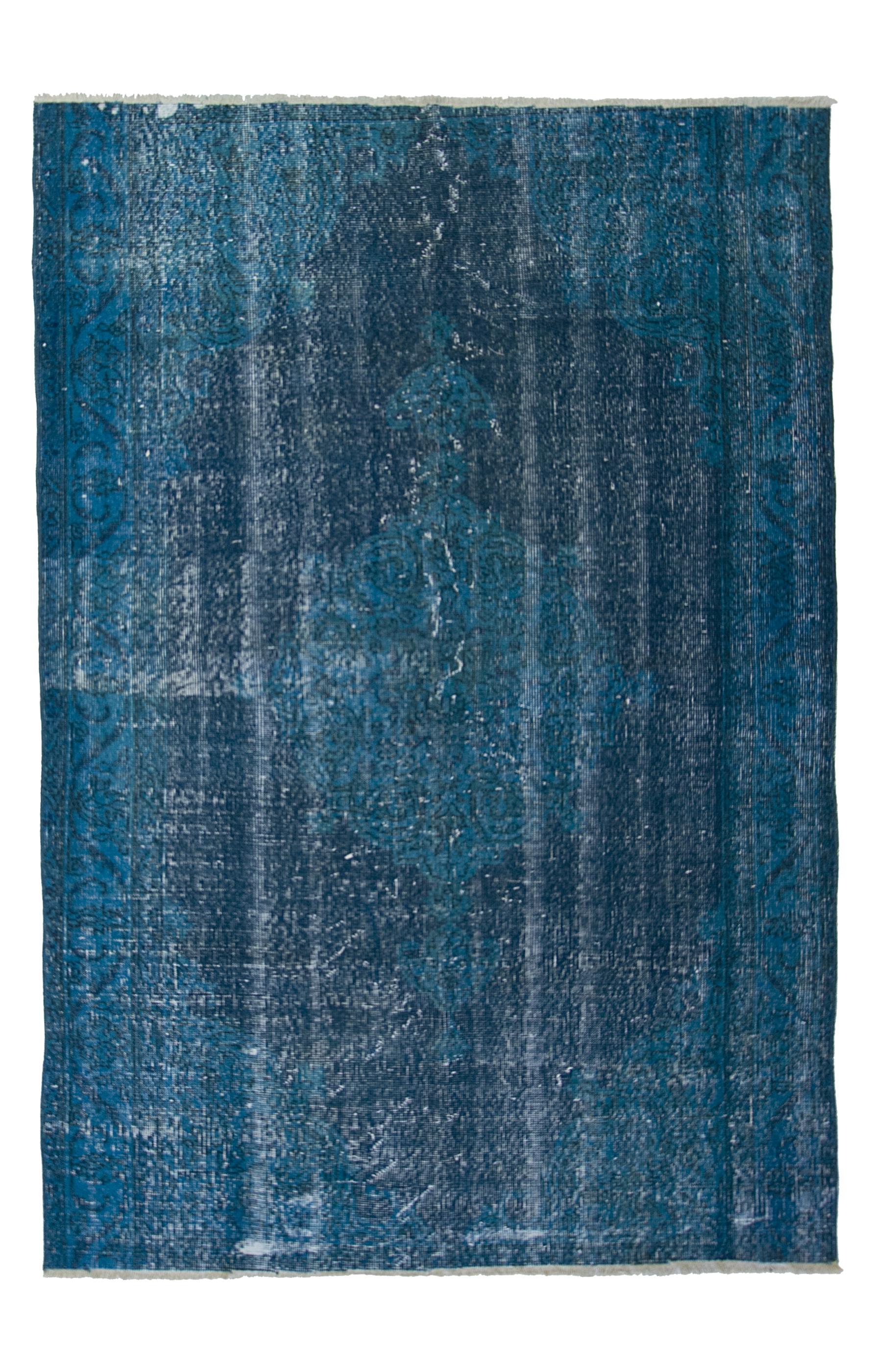 Äkta handknuten matta - Overdyed vintage Turkos