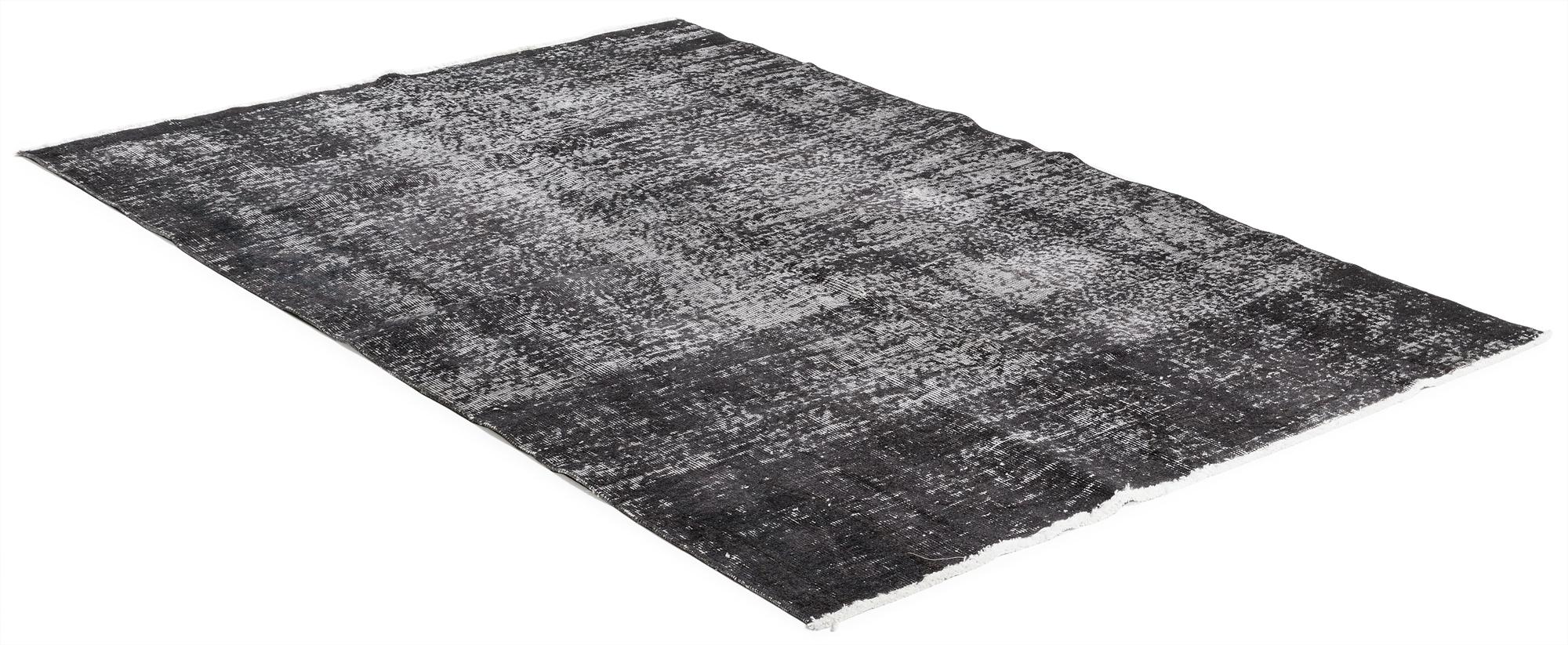 Äkta handknuten matta - Overdyed vintage Svart