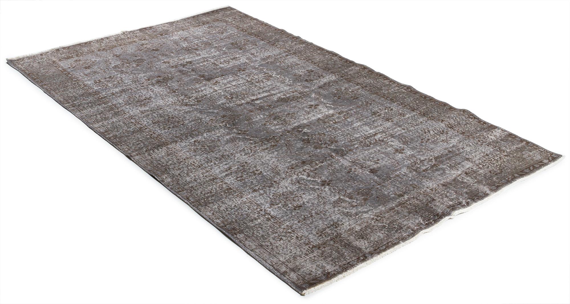 Äkta handknuten matta - Overdyed vintage Grå