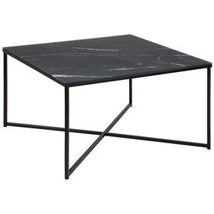 José soffbord - Marmorerat svart glas / svart