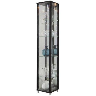 Optima vitrin & glasskåp - svart (med spegelbakstycke)