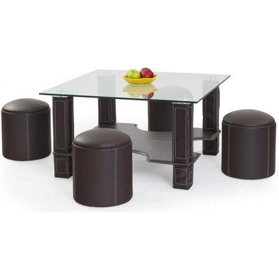 Meeting soffbord inklusive sittpuffar - Mörk brun
