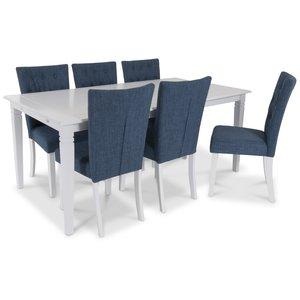 Sandhamn Matgrupp 180 cm med 6 st Crocket stolar - Vit / Blå