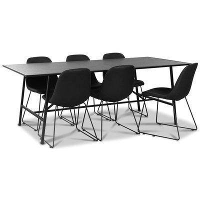 Toscana matgrupp: 206 cm bord + 6 st Atlantic Sled stolar svart PU