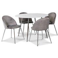 Art matgrupp, 110 cm runt bord + 4 st grå Art stolar