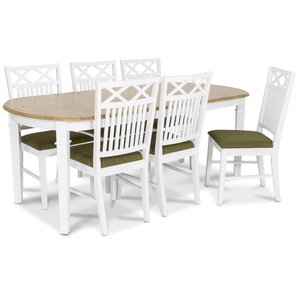 Ramnäs matgrupp - Bord inklusive 6 st Herrgård gripsholm stolar med grön sits - Vit/ekbets