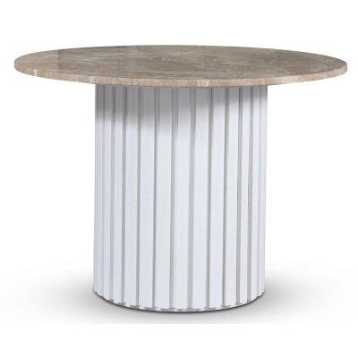 Empire matbord - Empradore marmor / Vit lamell träfot