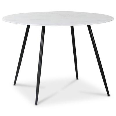 Art runt matbord 110 cm - Marmorerat glas / Svart