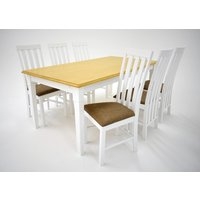 Ramnäs matgrupp - Bord inklusive 6 st Nebraska stolar - Vit/ek