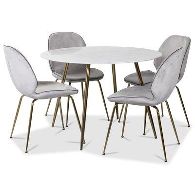 Art matgrupp: Runt bord marmor/Mässing + 4 st Deco stolar ljusgrå sammet / mässing