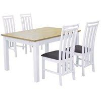Skagen matgrupp - Bord inklusive 4 st stolar - Vit/Ek