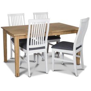 Mellby matgrupp 140 cm bord med 4 st grå Alvaro matstolar