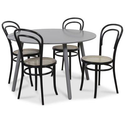 Rosvik matgrupp grått runt bord med 4 st Thonet stolar - Grå / Svarta