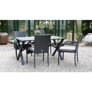 Scottsdale utematgrupp matbord med 4 st Orissa karmstolar - Svart/Grå