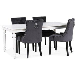 Paris matgrupp vitt bord med 4 st Tuva stolar i grå sammet med rygghandtag