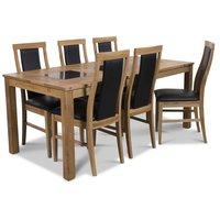 Jasmine matgrupp med bord och 6 st Jasmine stolar - Oljad ek / Svart PU