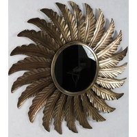Sol spegel 78 cm - Antik mässing
