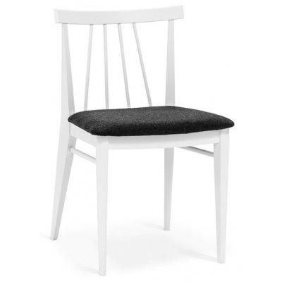 Torkelson Amy matstol med grå ullsits - Vitlackat trä