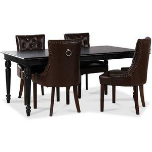 Paris matgrupp svart bord med 4 st Tuva stolar i brunt PU med rygghandtag