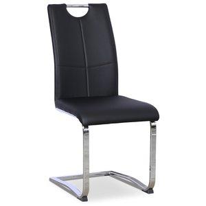 Opal stol - Svart PU / Krom