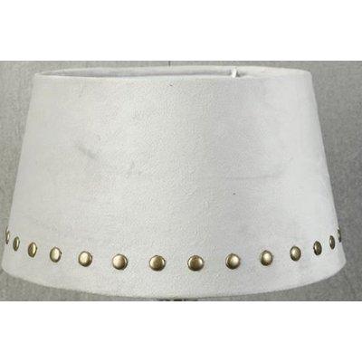 Velvet lampskärm med nitar 25 cm - Beige / krom