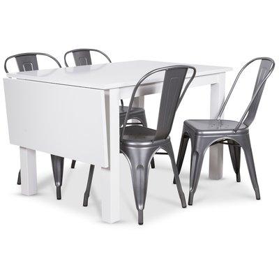 Sander matgrupp, Klaffbord med 4 st metallstolar - Vit/Metall