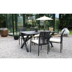 Scottsdale utematgrupp matbord med 4 st Skanör karmstolar - Svart/Teak/Beige