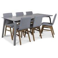 Visby matgrupp, 180 cm grått bord med 6 st Molly matstolar i ljusgrått tyg med ekben