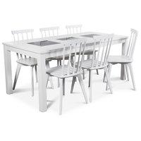 Jasmine matgrupp med vitlackat bord och 6 st vita Linköping pinnstolar