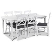 Nomi matgrupp 180 cm bord med 6 st Elisa matstolar med grå sits