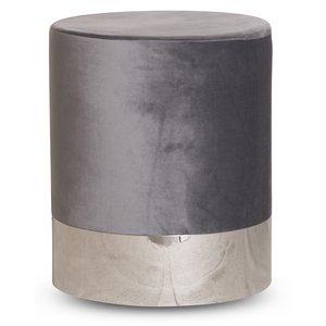 Puffa fotpall cylinderformad - Grå/Silver