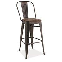 Barstol med rygg Industry - Stål/Trä