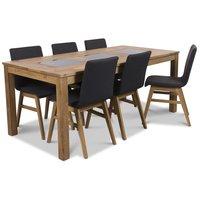 Jasmine matgrupp med bord och 6 st svarta Molly stolar - Oljad ek / Granit