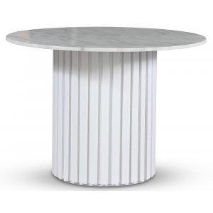 Empire matbord - Ljus marmor / Vit lamell träfot