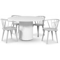 Pose matgrupp: Bord Ø130 cm inklusive 4 st gråa Dalsland karmstolar - Vitbetsad ek