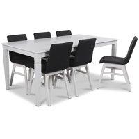 Mellby matgrupp 180 cm bord med 6 st Molly matstolar i mörkgrått tyg