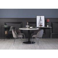 Plaza matgrupp, marmorbord med 4 st Plaza sammetsstolar - Grå/Krom/svart