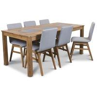Jasmine matgrupp med bord och 6 st ljusgråa Molly stolar - Oljad ek / Granit