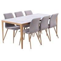 Quick matgrupp - Bord inklusive 6 st stolar - Marmorimitation/ekfolie/grått tyg