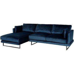 Florance soffa med divan till vänster - Mörkblå sammet
