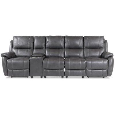 Enjoy Hollywood reclinersoffa - 4-sits (el) i grått konstskinn (modell H)