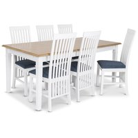 Ramnäs matgrupp - Bord inklusive 6 st Vindö stolar med blå sits- Vit/ekbets