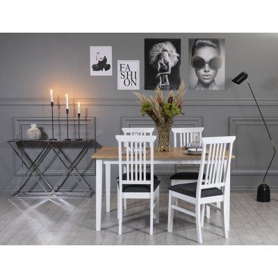 Fårö matgrupp: Bord 140 cm inklusive 4 Måsö stolar - Ek/vit