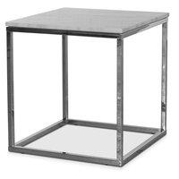 Accent soffbord 50 - Vit marmor / Kromat underrede