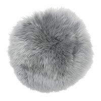 Gently rund stolsdyna - Ljusgrått fårskinn